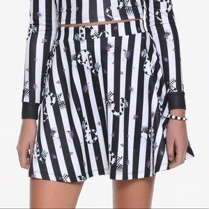 Beetlejuice Sandworm Black White Striped Skirt L